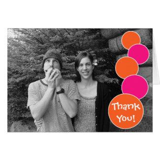 Carte pour notes de Merci de bulles (orange/roses
