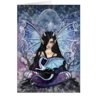 Carte pour notes féerique de carte de dragon gothi