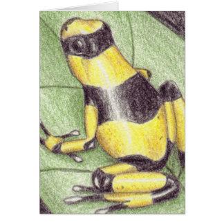 Carte pour notes jaune noir de grenouille