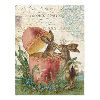 Carte pour notes vintage de lapins de Pâques Carte Postale