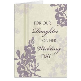 Carte pourpre de félicitations de mariage de fille