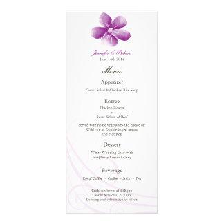 Carte pourpre de menu de mariage d'aquarelle cartes doubles customisables
