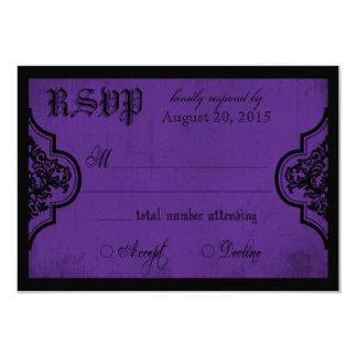 Carte pourpre et noire de Goth de la dentelle RSVP Carton D'invitation 8,89 Cm X 12,70 Cm