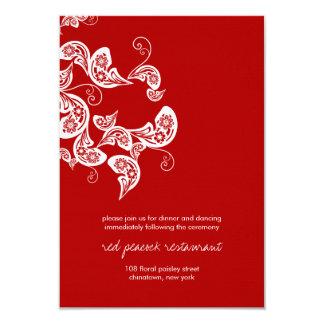 Carte Réception de mariage chic florale de Paisley de