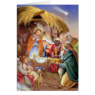 Carte religieuse de Noël de nativité