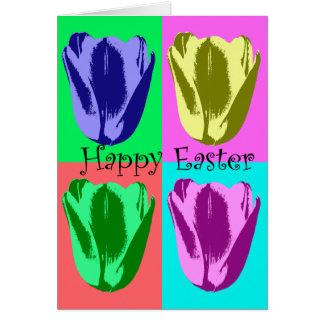 Carte Ressort heureux heureux de Pâques de tulipes