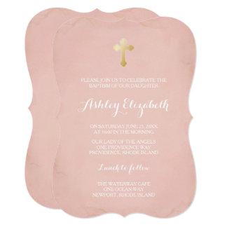 Carte Rose et or de Faux de ~ d'invitation de baptême