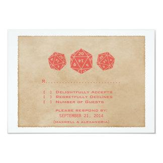 Carte rouge de réponse de Gamer de matrices de la Carton D'invitation 8,89 Cm X 12,70 Cm