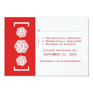 Carte rouge de réponse de mariage de Gamer des Carton D'invitation 8,89 Cm X 12,70 Cm