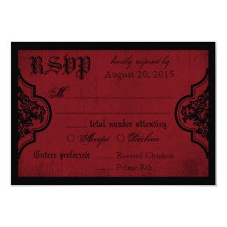 Carte rouge et noire de Goth de la dentelle RSVP Carton D'invitation 8,89 Cm X 12,70 Cm