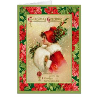 Carte Salutations démodées de Noël