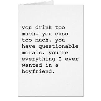 Carte sarcastique drôle de jour de Valentines -