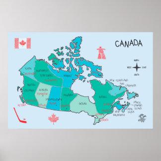 Carte tirée par la main du Canada avec des Poster