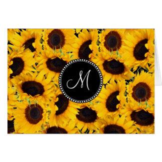 Carte Tournesols vibrants de monogramme beaux floraux