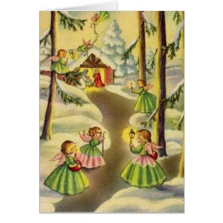 Carte Trois peu d'anges vintages de Noël