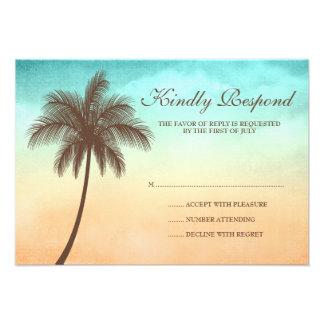 Carte tropicale de réponse de mariage de palmier d faire-part personnalisés