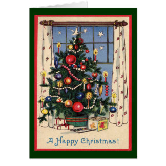 Carte Un Noël-Arbre/cru démodés