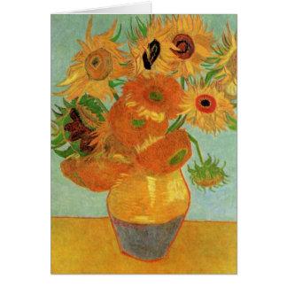 Carte Vase à Van Gogh avec 12 tournesols, beaux-arts de