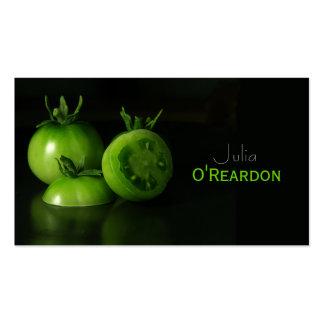 Carte verte noire de restauration de chef de tomat cartes de visite professionnelles