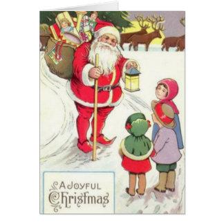 Carte victorienne de Père Noël Elf d'ère
