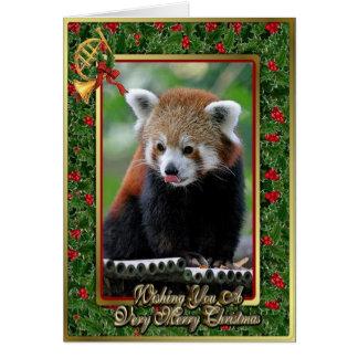 Carte vierge animale chinoise de Noël de panda rou