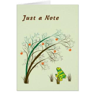 Carte vierge de note avec la grenouille et l'arbre