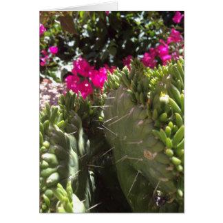 Carte vierge de note avec le cactus de floraison