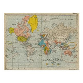 Carte vintage 1910 du monde cartes postales