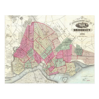 Carte vintage de Brookyln (1868) Carte Postale