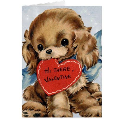Carte vintage de chiot de Valentine pour des enfan