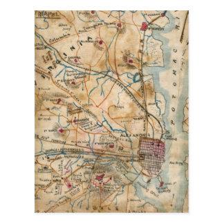 Carte vintage de la Virginie du nord-est (1862) Carte Postale