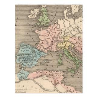 Carte vintage de l'empire romain (1838) carte postale