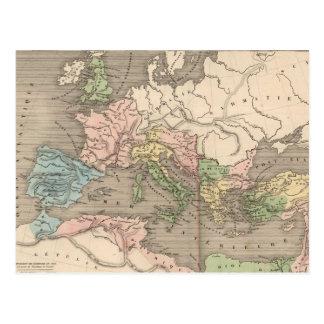 Carte vintage de l'empire romain (1838) cartes postales