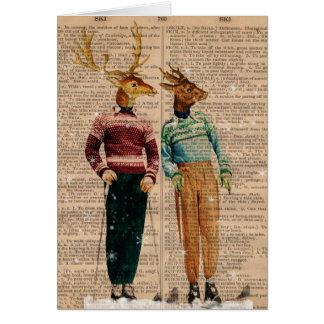 Carte vintage de page de dictionnaire de cerfs com