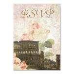 Carte vintage de Rome du rose antique RSVP de rose Carton D'invitation 8,89 Cm X 12,70 Cm