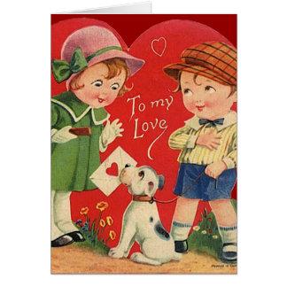 Carte vintage de Valentine pour des enfants