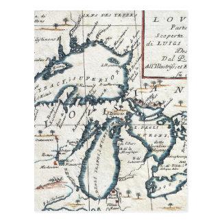 Carte vintage des Great Lakes (1696) Carte Postale
