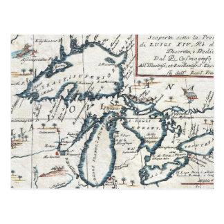 Carte vintage des Great Lakes (1696) Cartes Postales