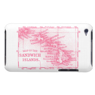 Carte vintage d'Hawaï, rose Coques Barely There iPod