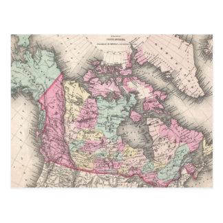 Carte vintage du Canada (1857) Cartes Postales