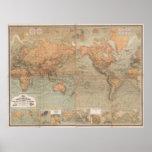 Carte vintage du monde (1870) posters