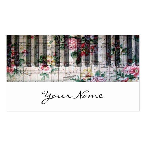carte vintage girly de profil de musique de clavie modèle de carte de visite