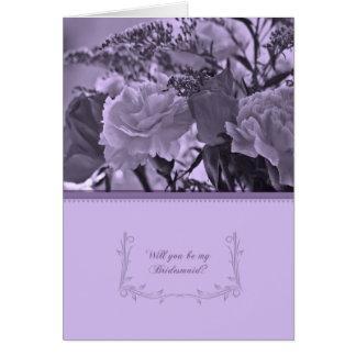 Carte violette florale de demoiselle d'honneur - v