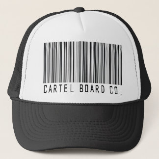 cartel bar code trucker hat