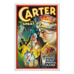 Carter The Great, 1927. Vintage Magician Poster
