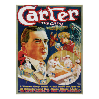 Carter The Great Vintage Magician Advertisement Poster