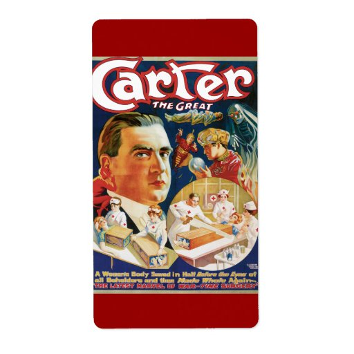 Carter The Great Vintage Magician Advertisement Shipping Label