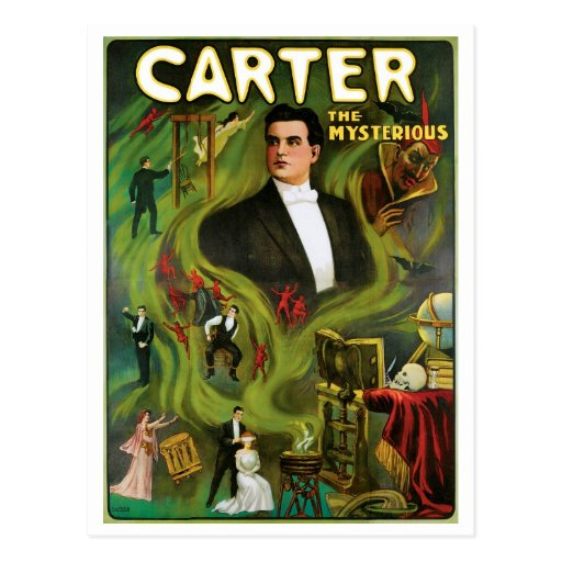Carter The Mysterious ~  Vintage Magic Act Post Card