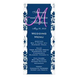 Cartes bleues de menu de mariage de monogramme de  double carte personnalisée