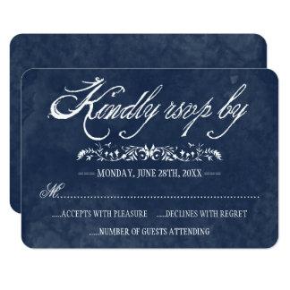 Cartes bleues de réponse de mariage d'aquarelle carton d'invitation 8,89 cm x 12,70 cm